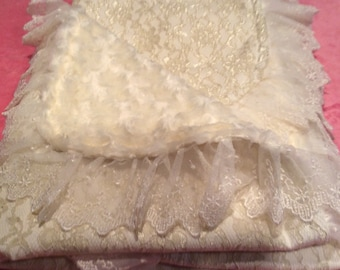 Ivory lace baby blanket