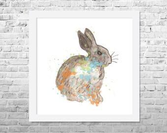 Rabbit Painting, Rabbit Nursery Decor, Rabbit Art Print, Watercolor Painting, Animal Art, Watercolor Animal, Nursery Art