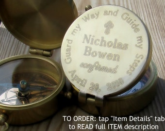 First Communion Boy, Confirmation Gift Boy. Custom Confirmation Gift. Personalized Gift. Confirmation Engraved Gift, Engraved Compass