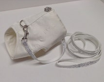 White Bridal Dog Harness and Leash