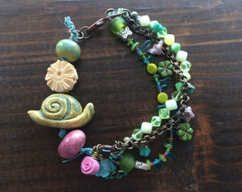 Slowly moving into Spring - Bracelet, Artisan, Casual, Cheerful, Floral, Spring