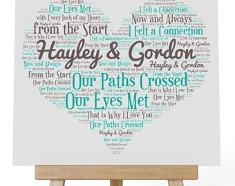Personalised Love Word Art Wooden Plaque & Wooden Easel Stand - Our Paths Crossed