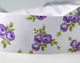 """Mini Flowers Printed Purple green leaves Satin Ribbon Scrapbooking HairBows Parties DIY Projects az272 1.5"""" WIDE"""