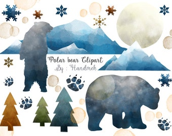 Polar Bear watercolor clipart : Instant Download PNG file - 300 dpi