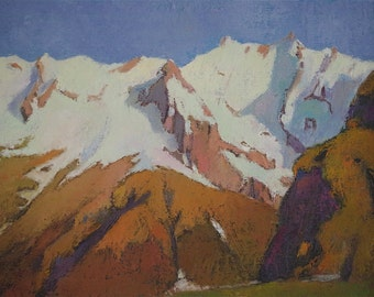 Snowy Mountains Landscape oil Painting One of a kind Handmade Artwork Impressionism Signed with Certificate of Authenticity