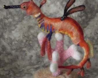 Made to Order Needle felted Weedy Sea dragon, Custom Needle felted Animal sculpture