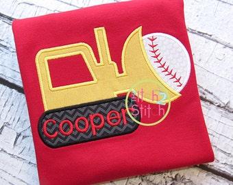 Personalized Baseball Softball Tractor Applique Shirt or Onesie Girl Boy