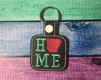 Arkansas HOME - State- The Hoop - Snap/Rivet Key Fob - DIGITAL Embroidery Design