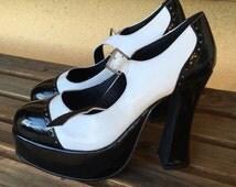 Chunky Heels, Mary Jane Shoes, Sexy Black White Heels, Goth Girl Shoes, Platform Stripper Heels, Grunge Chunky Shoes, Chunky Platform Heels