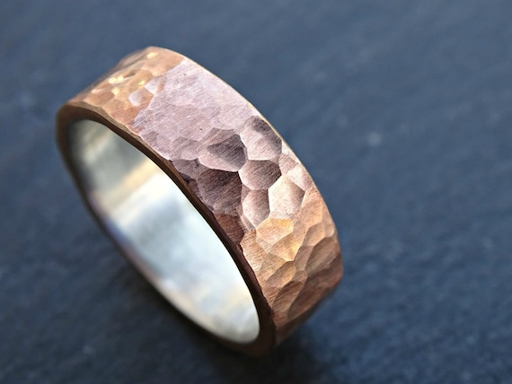 Bronze Wedding Ring Mens Wedding Band Cool Mens Ring Bronze