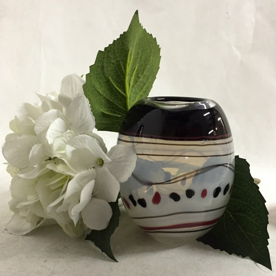Black And White With Red Accents Small Round Vase