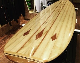 7' Hollow Wooden Mini-mal surfboard. Unique design, handmade in the UK from Paulownia and Cedar. Let me make you a fully customised board