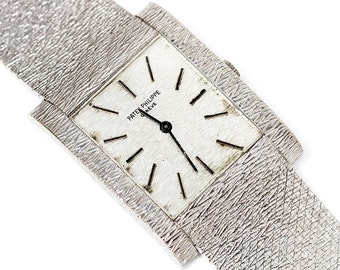 Vintage Patek Philippe Men's Watch 3553 1 Rectangular 18kt White Gold Textured 8.25""