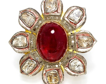 Rubellite Indian Flower Ring with Bezel Set Diamonds in Sterling Silver 13.50ctw