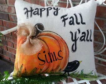 New! Fall Y'all, Personalized, Accent Pillows, Throw Pillows, Indoor/Outdoor, Thanksgiving, Holidays, Hand-painted, Pillow Cover, No. 182