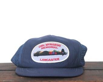 Vintage CWH Mynarski Memorial Lancaster War Plane Airplane WWII Canada Trucker Hat Snapback Baseball Cap Patch