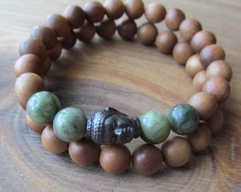 Bracelet Set Sandalwood and Buddha, Stacking Bracelets, Men's Bracelet, Mala Bracelet, Layering Bracelet, Beaded Bracelets, Saguaro Jasper