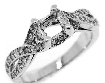 0.50 Cttw Round Diamonds Semi Mount Engagement Ring in 14K White Gold