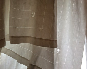 Large linen and cotton sheet squared embroidery on each end