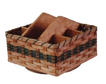 Amish Handmade Lazy Susan Organizer Basket