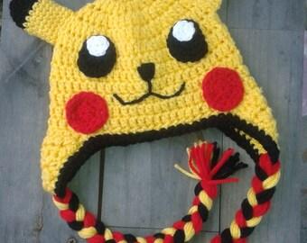 Pikachu hat, Picachu hat, crochet Pikachu hat, Pokémon hat, crochet Pokémon hat, knit Picachu hat, baby Picachu hat, toddler Picachu hat