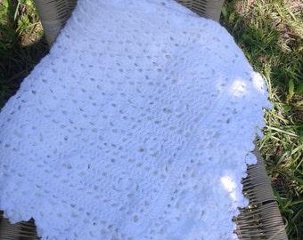 White crochet baby blanket, all white baby blanket, white baby blanket, crochet lacy solid white baby blanket, white christening blanket