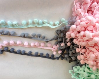 Pom Pom/Pom Poms/Grey Pompoms/Light Grey/pink/mint green pompom/ Pom Pom/Pom Pom Trims/Gift wrapping Supplies