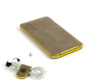 Leather Samsung Galaxy S9 case. Sand color leather Yellow wool felt lining Galaxy S9 Plus case S9+ leather sleeve Leather Galaxy S9 Plus