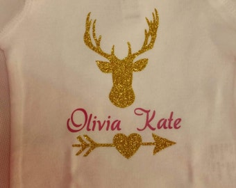 Personalized Deer Bodysuit, Baby bodysuit, Infant Bodysuit