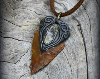 Arrowhead clay pendant bird stone rough raw gemstone shaman American Indians tribal Wicca Metaphysical spiritual healing charm