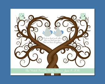 Twins Baby Shower, Chevron Thumbprint Tree for Twins, Guest Book Alternative Baby Shower, Baby Guestbook Wall Art, First We Had Each Other
