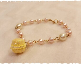 Lemon Macaron Beaded Bracelet