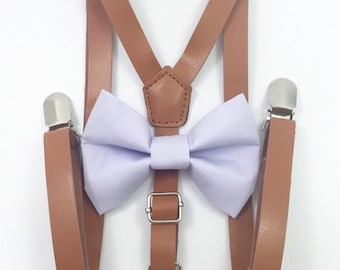 FREE DOMESTIC SHIPPING! Skinny 1/2 inch light brown faux leather suspenders and light purple bow tie wedding pictures birthday formal