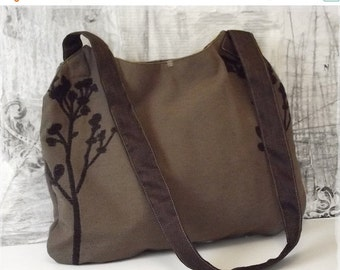 On sale Brown boho rustic cross body bag, Handmade casual vegan hip bag