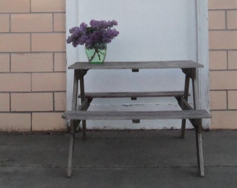 Rustic Weathered Wood Garden Picnic Table