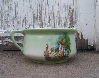 Ceramic Transferware Chamber Pot