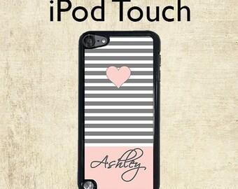 iPod 5 Case - Monogram iPod 6 Case - Grey Pink Stripe - iPod Touch 6 Case - Personalized iPod Touch Case
