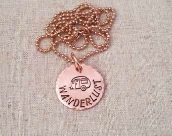 Hand Stamped Jewelry-Copper Necklace-Wanderlust-Travel-Best Friends-Camper Necklace-Traveler-Wanderer-Camping-Love To Camp-Vintage Camper