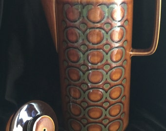 "Retro ~ Mod ~ Mid-Century Modern … BRONTE 10"" Glazed Ceramic Coffee / Tea Pot ~ John Clappison Geometric Design 1972 ~ Hornsea, England"