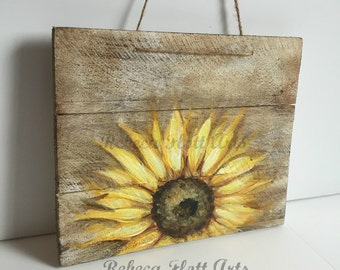 Wood Pallet Sign,Sunflower on rustic wood , original hand painted by Rebeca Flott,