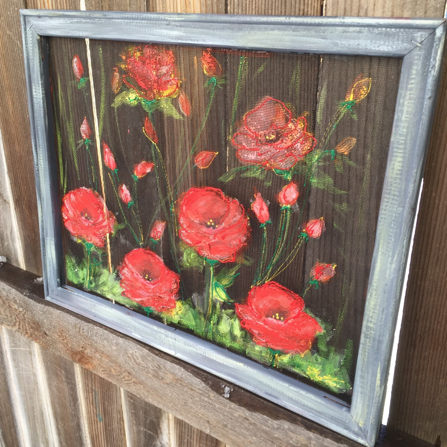 Red Poppies Hand Painted Window Screen