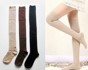 3 Pairs New Women's Girl's Cotton Cable Knit Thigh High Over Knee Boot Socks