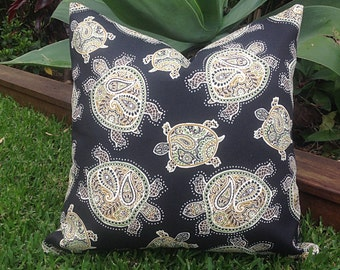 Black Outdoor Cushions, Indoor/Outdoor Pillows, Cover Only, Turtles Tommy Bahama  Pillows Alfresco Cushions Tropical Pillows