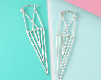 Silver Drop Earrings, Geometric Earrings, Long Earrings, 925 Silver Earrings, Statement Earrings, Edgy Earrings, Aztec Earrings