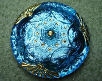 Czech Glass Button 41mm - hand painted - sky blue with gold (B41064)