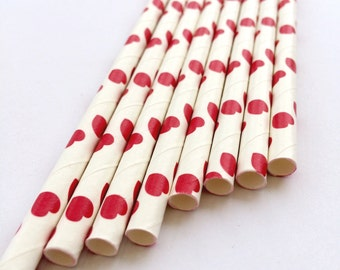 Red Heart Paper Straws