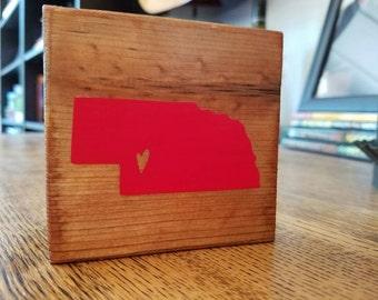 Nebraska Love - Custom state wood block