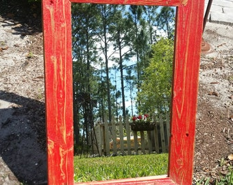 Reclaimed Wood Mirror Rustic Cottage Beach Chic Vanity Entry Wall Hanging in Red