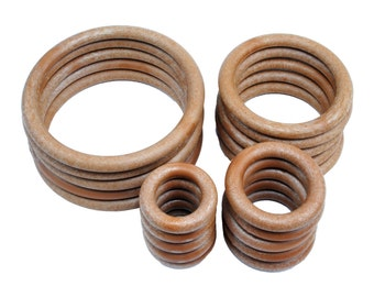 """Macrame Rings Wood Effect 1.5"""" 2"""" 3"""" 4"""". 5 of Each. Total of 20 in a Pack. (S7328) Free UK Postage"""