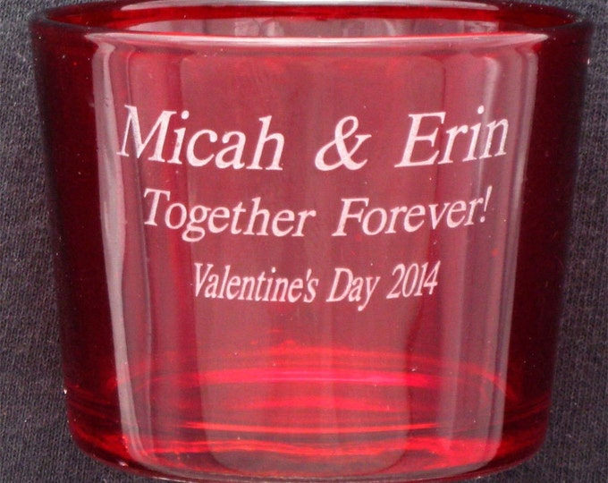 Valentines Day Personalized Red Stained Glass Candle Holder - Romantic Gift